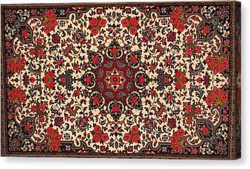 Bijar Red And Cream Silk Carpet Persian Art Poster Canvas Print by Persian Art