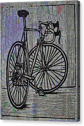 Bike 4 On Map Canvas Print