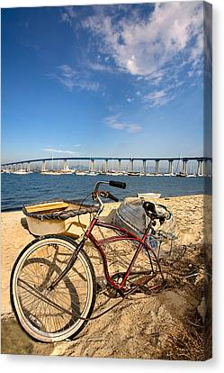 Bike And A Brdige Canvas Print by Peter Tellone