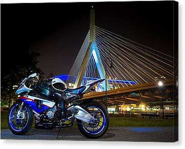 Bike And Bridge Canvas Print by Lawrence Christopher