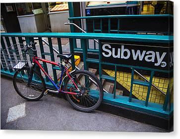 Bike At Subway Entrance Canvas Print by Garry Gay