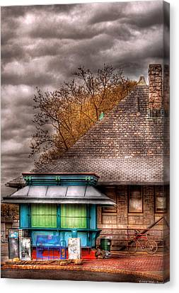 Bike - At The Train Station Canvas Print by Mike Savad