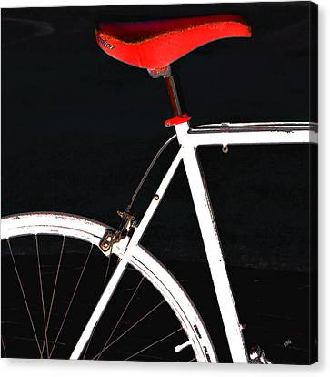 Bike In Black White And Red No 1 Canvas Print
