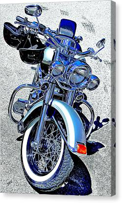Bike In Blue For Two Canvas Print by Ben and Raisa Gertsberg