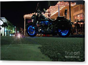 Canvas Print featuring the photograph Bike Night In Blue Light by Megan Dirsa-DuBois