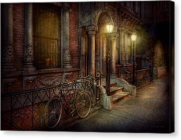 Bike - Ny - Greenwich Village - In The Village  Canvas Print by Mike Savad
