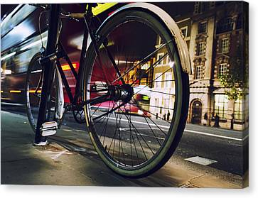 Bike On Whitehall Street Canvas Print by Joseph S Giacalone