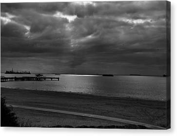 Canvas Print featuring the photograph Bike Path And Pier by Joseph Hollingsworth
