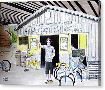 Canvas Print featuring the drawing Bike Pittsburgh by Albert Puskaric