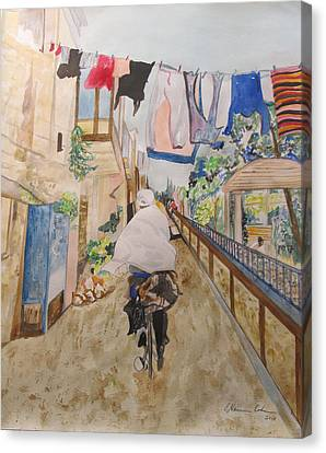 Bike Rider In Jerusalem Canvas Print by Esther Newman-Cohen