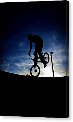 Canvas Print featuring the photograph Bike Silhouette by Joel Loftus