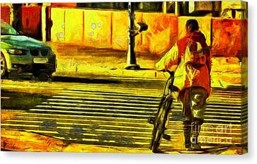 Biker At Crosswalk Canvas Print