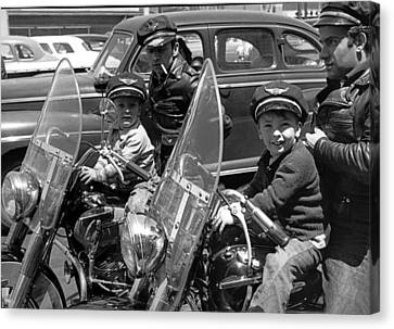 Bikers And Their Sons Canvas Print by Underwood Archives