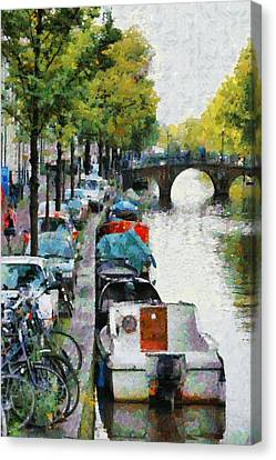 Bikes And Boats In Old Amsterdam Canvas Print by Mick Flynn