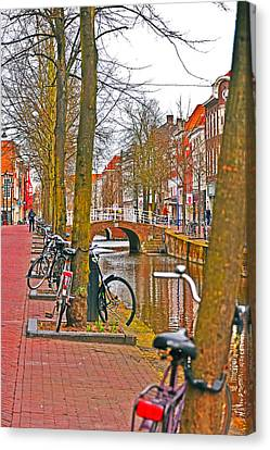 Bikes And Canals Canvas Print