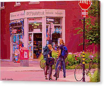 Bikes Backpacks And Cold Beer At The Local Corner Depanneur Montreal Summer City Scene  Canvas Print by Carole Spandau