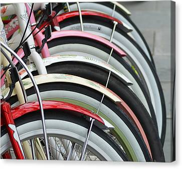 Bikes In A Row Canvas Print by Joie Cameron-Brown