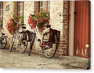 Flower Boxes Canvas Print - Bikes In The School Yard by Juli Scalzi