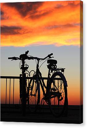 Bikes West Meadow Beach New York Canvas Print by Bob Savage