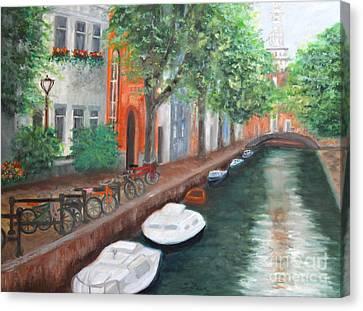 Biking Along The Canal Canvas Print