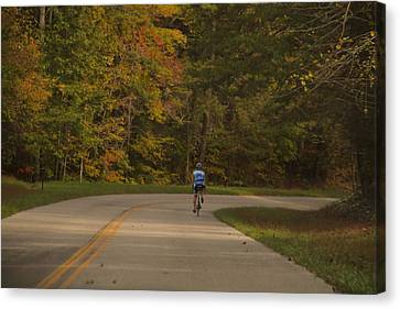 Biking In The Smoky Mountains Canvas Print by Dan Sproul