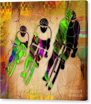 Biking Canvas Print by Marvin Blaine