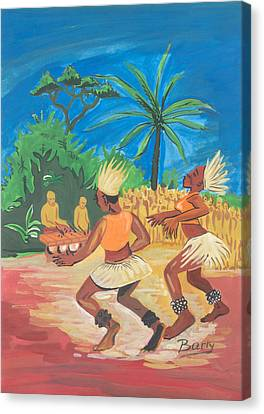 Canvas Print featuring the painting Bikutsi Dance 2 From Cameroon by Emmanuel Baliyanga