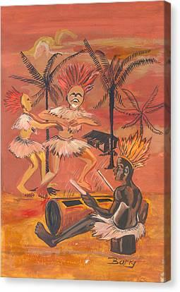 Canvas Print featuring the painting Bikutsi Dance From Cameroon by Emmanuel Baliyanga