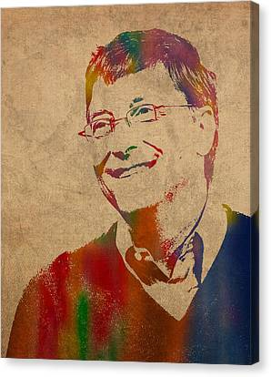 Bill Gates Microsoft Ceo Watercolor Portrait On Worn Distressed Canvas Canvas Print by Design Turnpike