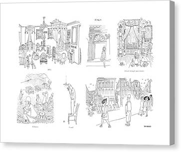 Italian Street Canvas Print - Billet  K Ration  V-mail  Ack-ack Through Open by Saul Steinberg