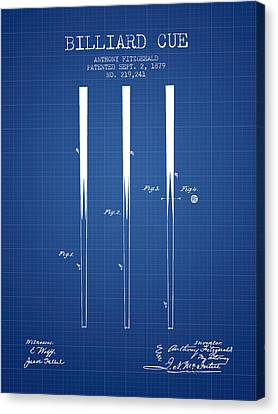 Billiard Cue Patent From 1879 - Blueprint Canvas Print by Aged Pixel