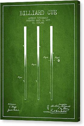 Billiard Cue Patent From 1879 - Green Canvas Print by Aged Pixel