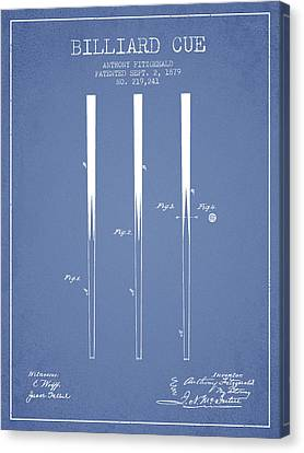 Billiard Cue Patent From 1879 - Light Blue Canvas Print by Aged Pixel
