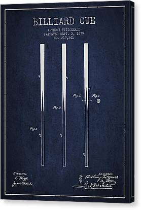 Billiard Cue Patent From 1879 - Navy Blue Canvas Print by Aged Pixel