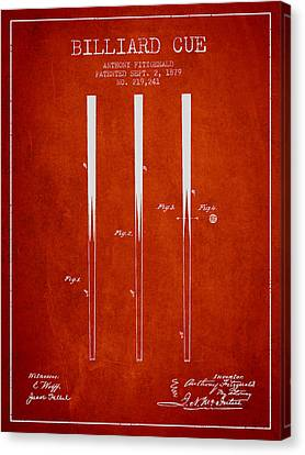 Billiard Cue Patent From 1879 - Red Canvas Print by Aged Pixel