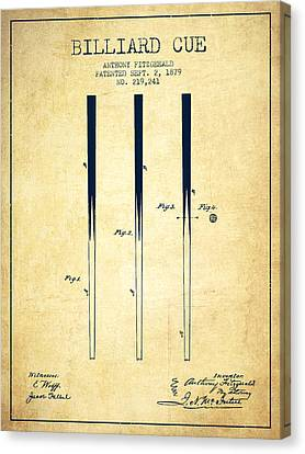 Billiard Cue Patent From 1879 - Vintage Canvas Print