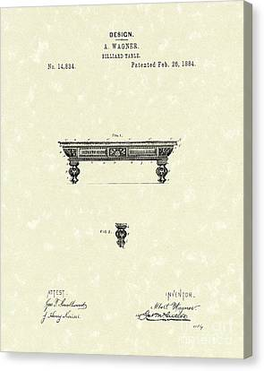 Billiard Table 1884 Patent Art Canvas Print by Prior Art Design