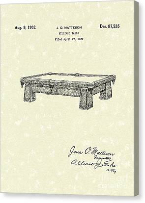 Billiard Table 1932 Patent Art Canvas Print