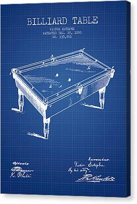 Billiard Table Patent From 1880 - Blueprint Canvas Print