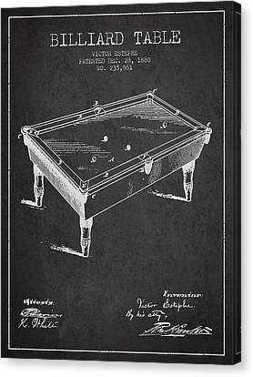 Billiard Table Patent From 1880 - Charcoal Canvas Print by Aged Pixel