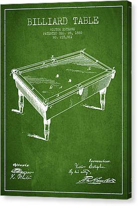 Billiard Table Patent From 1880 - Green Canvas Print by Aged Pixel