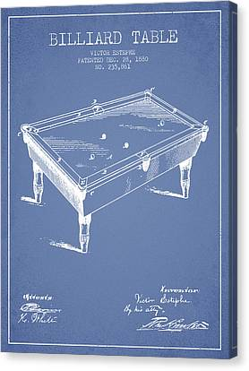 Billiard Table Patent From 1880 - Light Blue Canvas Print