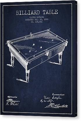 Billiard Table Patent From 1880 - Navy Blue Canvas Print