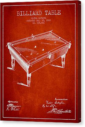Billiard Table Patent From 1880 - Red Canvas Print by Aged Pixel