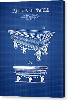 Billiard Table Patent From 1900 - Blueprint Canvas Print by Aged Pixel