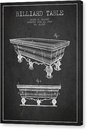 Billiard Table Patent From 1900 - Charcoal Canvas Print by Aged Pixel