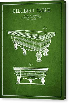 Billiard Table Patent From 1900 - Green Canvas Print by Aged Pixel