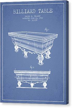 Billiard Table Patent From 1900 - Light Blue Canvas Print by Aged Pixel