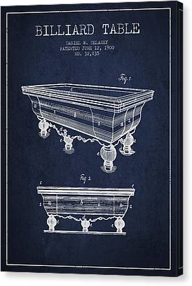 Billiard Table Patent From 1900 - Navy Blue Canvas Print by Aged Pixel