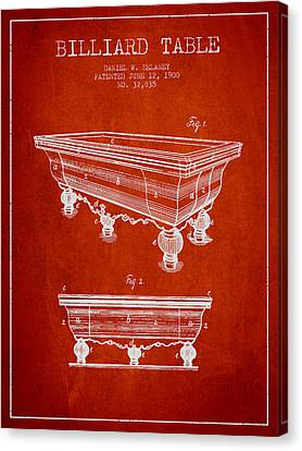 Billiard Table Patent From 1900 - Red Canvas Print by Aged Pixel